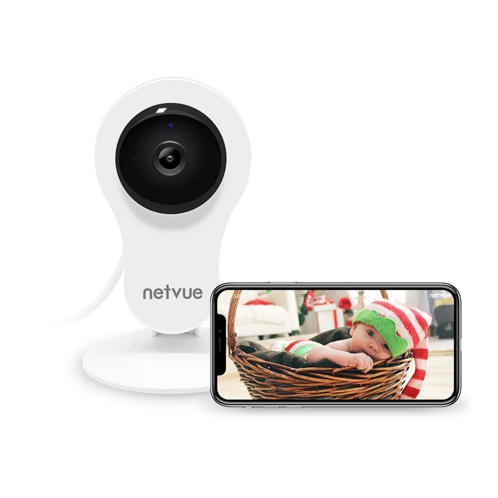 NETVUE 1080P Indoor Security WiFi Camera, Work with Alexa, Echo Show, Wireless Security Camera with Night Vision, Motion Detection, Two Way Audio Baby Monitor for Elder/Baby/Pet
