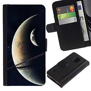 Planetar® Modelo colorido cuero carpeta tirón caso cubierta piel Holster Funda protección Para SAMSUNG Galaxy S5 V / i9600 / SM-G900 ( Space Planet Galaxy Stars 19 )