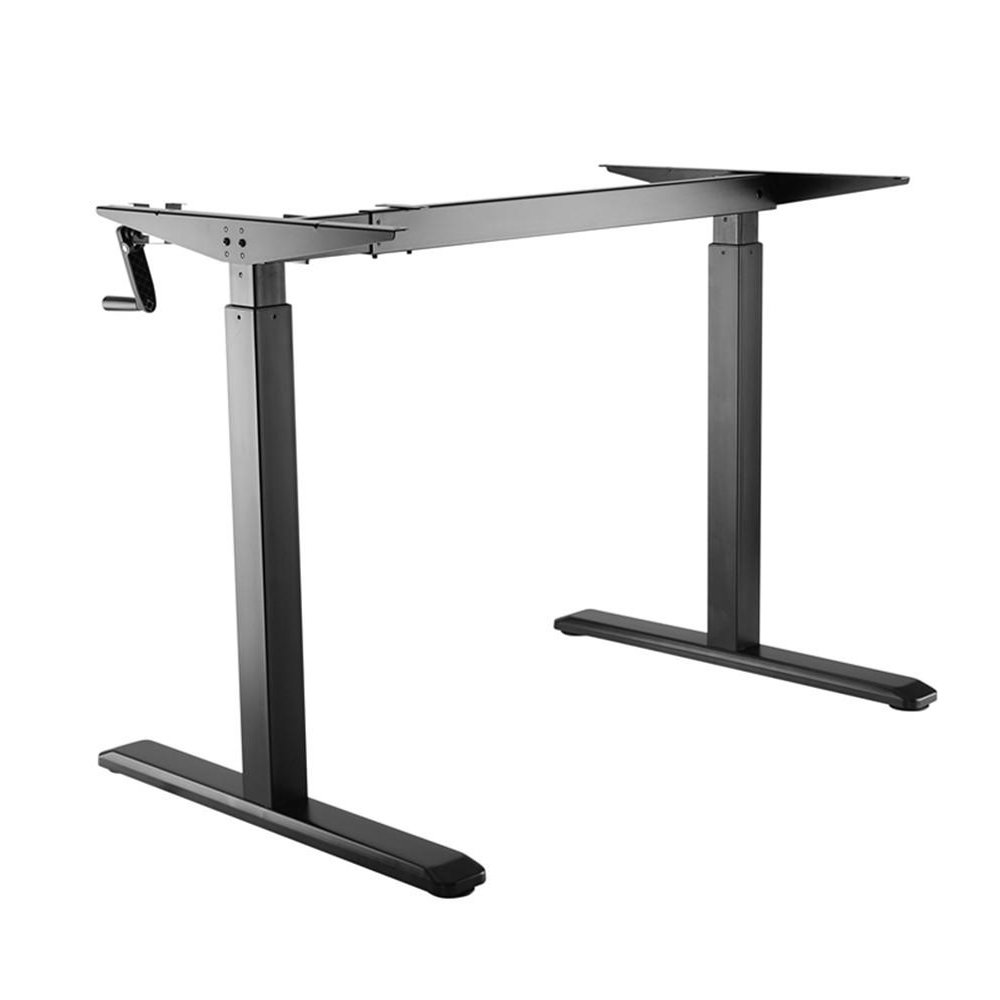 PrimeCables® Manual Crank Adjustable Height Sit-Stand Desk Frame Height Range: 730-1230mm Up to 176lbs, Black