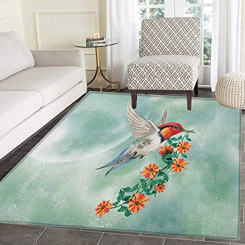 Hummingbird Area Rug Carpet A Hummingbird is Flying with A Flowered Branch Floral Nature Illustration Living Dining Room Bedroom Hallway Office Carpet 3'x4' Orange Green
