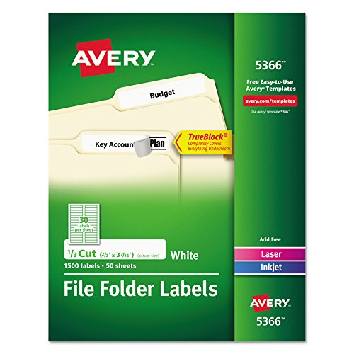 Avery File Folder Labels for Laser and Ink Jet Printers with TrueBlock Technology - 3.4375 x .66 inches - White - Box of 1500 (5366)