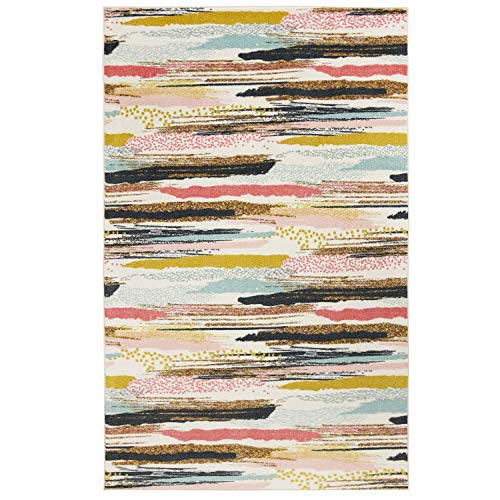 Mohawk Home Z0441 A416 096120 EC Prismatic Multi Abstract Brushed Stripe Printed Contemporary Kids Area Rug 8'x10',