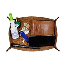 "Duszake Storage Valet tray for Key Watch Phone Coin Change Jewelry Entryway Bedside Catchall (Cork, 9.05""L x 5.51""W x 1.37""H)"