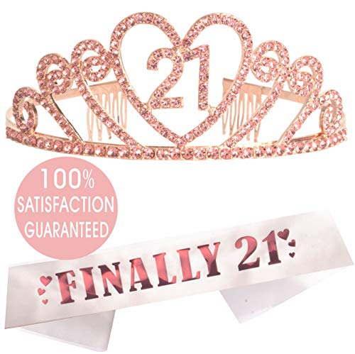 21st Birthday Tiara and Sash Pink | HAPPY 21st Birthday Party Supplies | Finally 21 Glitter Satin Sash and Crystal Gold Tiara Birthday Crown for 21st Birthday Party Supplies and Decorations -