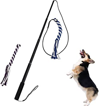 ANG Flirt Pole Rope Tug Dog Toy, Braided Cotton Blend Rope