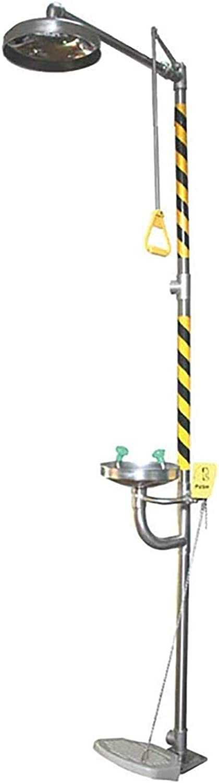 HHYGR Estación lavaojos de Emergencia de Acero Inoxidable, combinación de Grifo lavaojos y Sistema de Ducha, con Interruptor de Pedal
