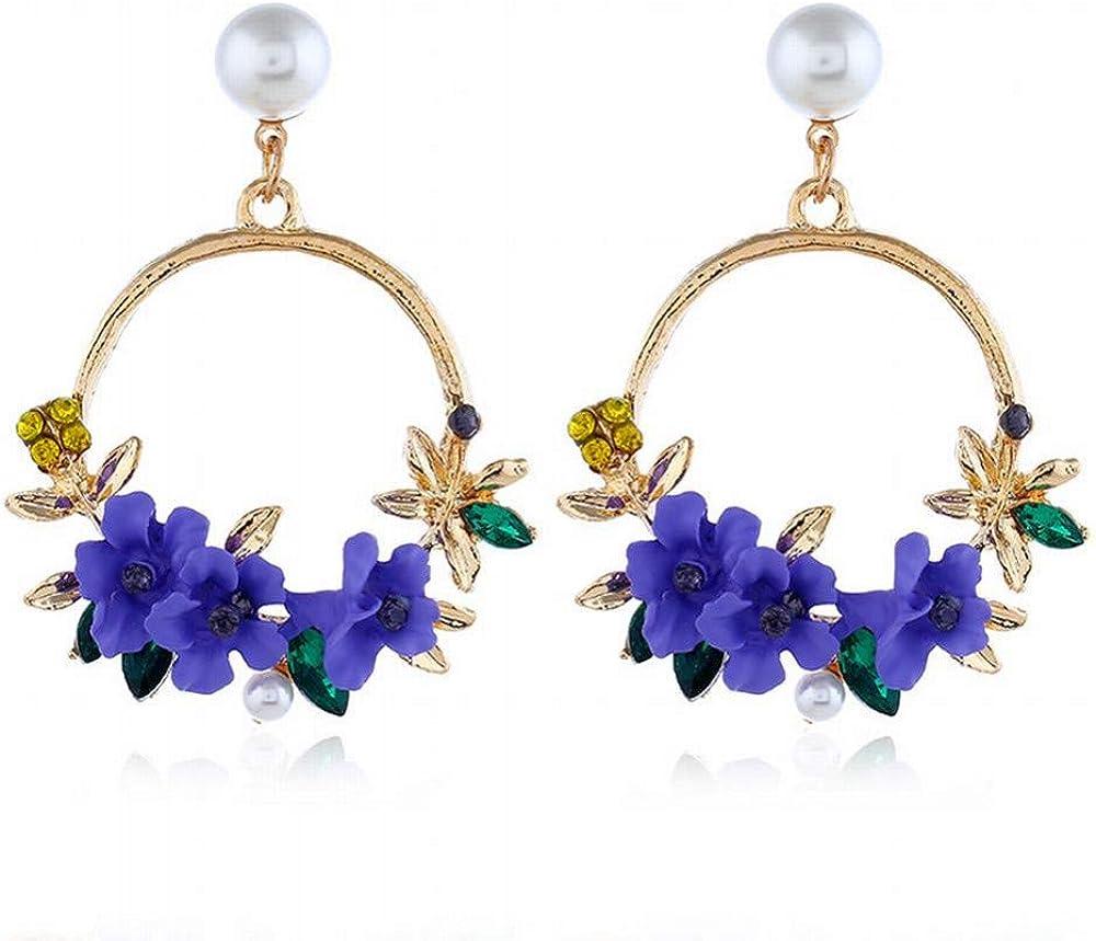 ZRDMN Pendientes del perno prisionero de las mujeres Anillo de la flor Pendientes de piedras preciosas Retro Arcilla Suave Pendientes de la perla Joyería del oído femenino