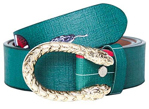 Menalisa Women's Classis Coral Snake Print 38-mm Luxury Leather Belt (Green, - Buckle Snake Print