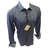 Men's House of Lords Designer Long Sleeve Button Down Shirt Multicolor Blue Striped 5032