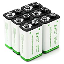 BAKTH 9V Advanced Li-ion Battery 9 Volt 650mAh High Capacity Low Self-Discharge Lithium-ion Rechargeable Batteries (6 Pack)