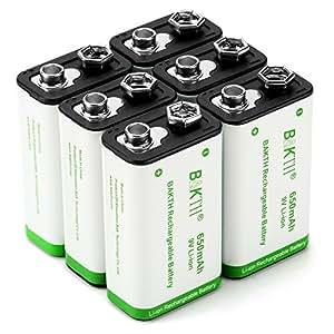 BAKTH Pilas Recargables Li-Ion 9V 650mAh Rendimiento más Alto Litio de Batería (6 Piezas)