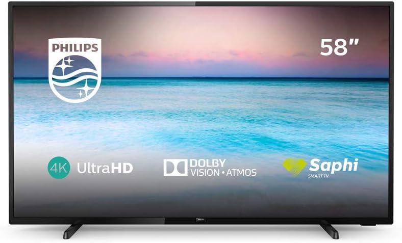 Philips 58PUS6504/12 - Smart TV LED 4K UHD, 58 pulgadas, Resolución de pantalla 3840 x 2160, Negro brillante