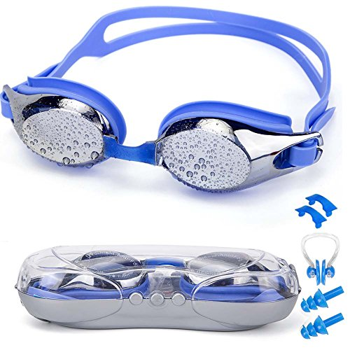 SIXBOX Swim Goggles leak free anti UV lens adjustable shoulder strap Triathlon Swimming Goggles Anti fog nose clip, Ear adult male, Female, - Try Lens Virtual