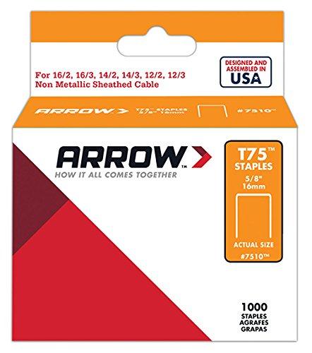 Arrow 160647 Boîte de 1000 Cavaliers t75 16 mm-pour câble ø 12 mm, Argent 7510