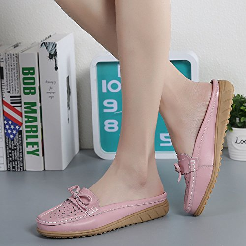 On Leather Slipper Loafers Walking Backless Pink Hollow Mules Slip Flats Women's Vilocy Lazy Shoes g8xf8