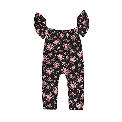 Do co-sport Baby Girls Flower Print Ruffle Sleeve Off Shoulder Romper Kid Jumpsuits Piece Pants Clothing (100(18-24Months))