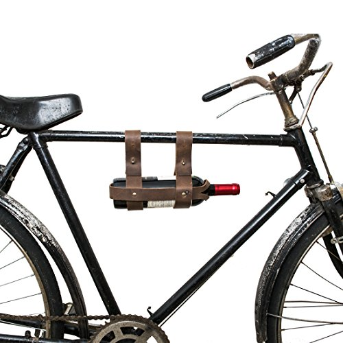 Thick Leather Bike Wine Holder Handmade by Hide & Drink :: Bourbon Brown