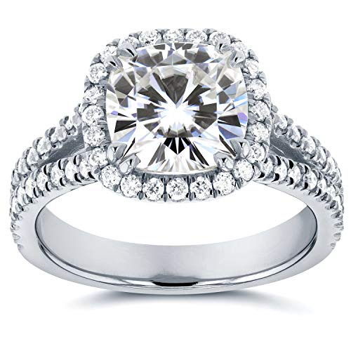 Forever One Cushion Moissanite and Halo Diamond Engagement Ring 2 1/2 CTW in Platinum (Cushion Cut Halo Diamond Engagement Ring In Platinum)