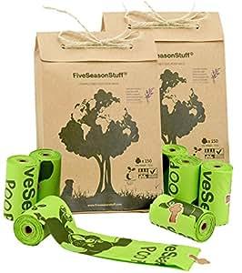 FiveSeasonStuff 300 Leak Proof Poop Bags for Dogs | Biodegradable & Compostable in 3-5 Months | Lavender-Scented (20 Rolls)