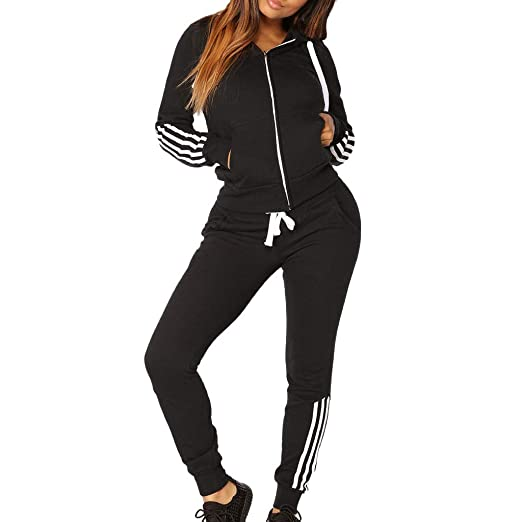 9f2e691f08e0 STORTO Women 2 Pieces Outfits Long Sleeve Casual Stripe Hoodie Tops ...