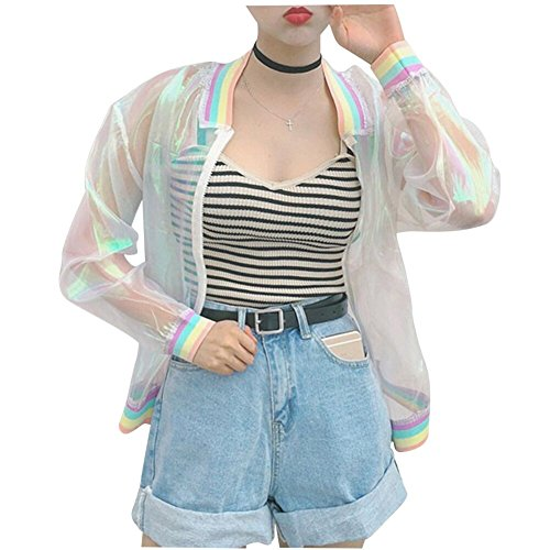 Women Girl Jacket Laser Rainbow Hologram Iridescent Transparent Bomber Jacket Sun-proof Coat