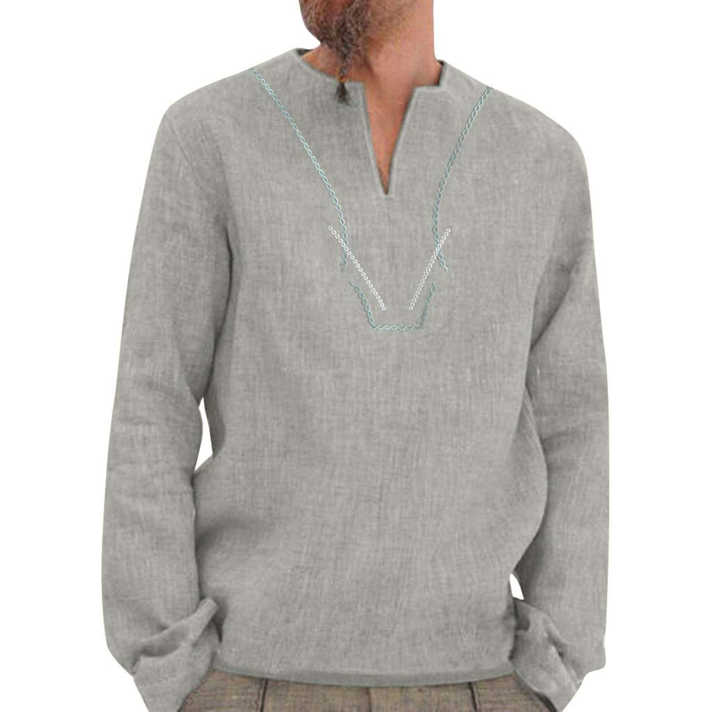 Watonic Autumn Fashion Men Casual Baggy Retro Embroidery Solid Long Sleeve V Neck Shirts Tops