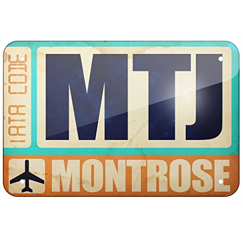 Metal Sign Airportcode MTJ Montrose, Small 12x18 Inch Metal Tin Sings -