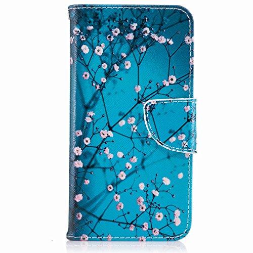 Yiizy Huawei P8 Lite (2017) / Honor 8 Lite / Nova Lite Funda, Plum Flower Diseño Solapa Flip Billetera Carcasa Tapa Estuches Premium PU Cuero Cover Cáscara Bumper Protector Slim Piel Shell Case Stand
