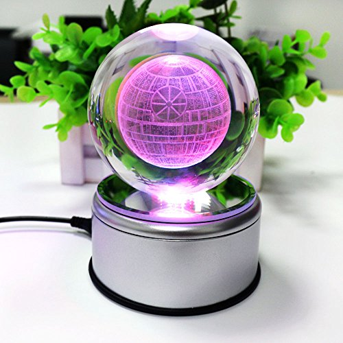 3D K9 Inspired Laser Engraved Crystal Ball LED Night Ligh...