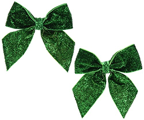 Leg Avenue Women's Glitter Hair Bows, Green, One Size