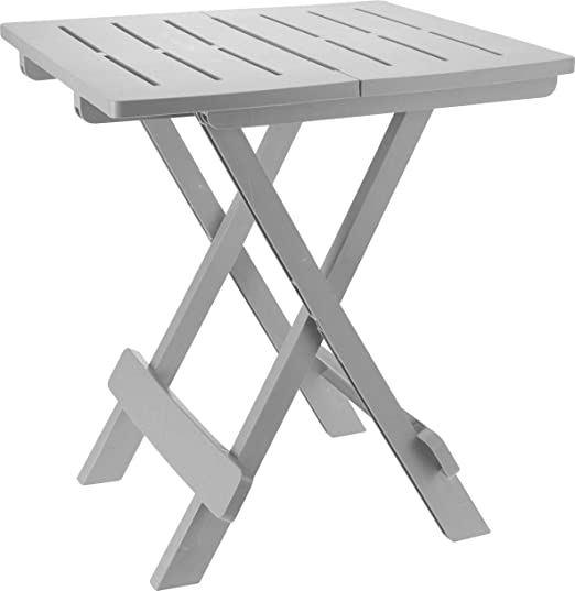 Spetebo Adige - Mesa plegable pequeña para jardín o camping, ideal para utilizarse como mesa auxiliar, gris claro: Amazon.es: Jardín