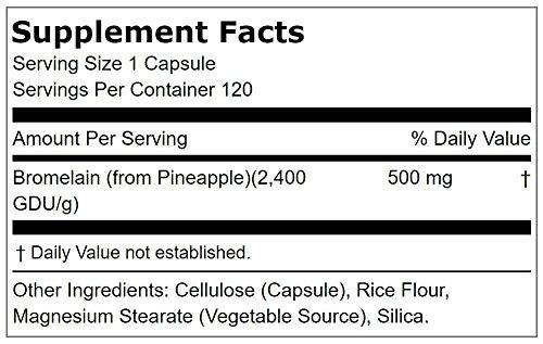 Lindberg Bromelain 500 mg (2,400 GDU per gram), Vegetarian Pineapple Enzyme Formula, Supports Healthy Digestion* and Joint Comfort* (120 Veg Capsules) by LINDBERG (Image #1)