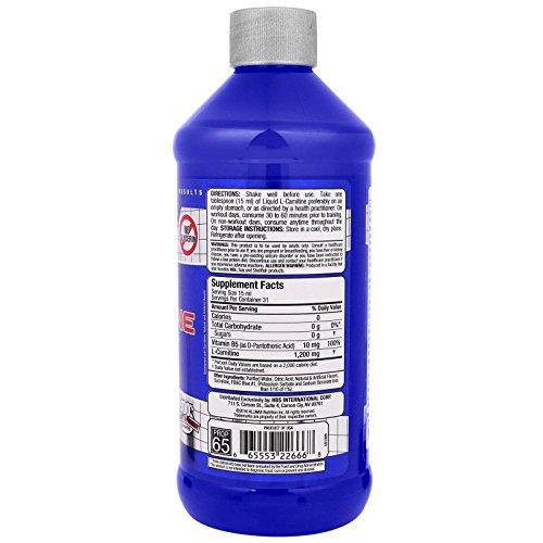 ALLMAX Nutrition L-Carnitine Liquid Vitamin B5 Blue Raspberry Flavor 16 oz 473 ml