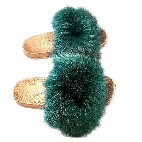 dark Gold Green Slide Toe Fur Raccon qmfur Slippers Open Real Women's U8pwB