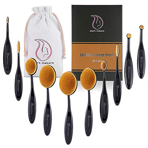 Makeup Brushes Professional Makeup Brush Set 10 Pieces Oval Makeup Brushes Soft Toothbrush Shaped Design with Makeup for Foundation Concealer BB cream Powder Blender with Box