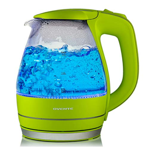 OVENTE Electric Glass Kettle 1.5 Liter with Heat Tempered Borosilicate Glass, BPA-Free, 1100 Watts Fast Heating, Auto Shutoff and Boil Dry Protection, Green (KG83G)
