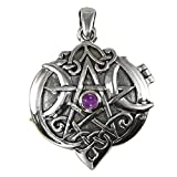 Sterling Silver Amethyst Celtic Knot Heart Pentacle Locket
