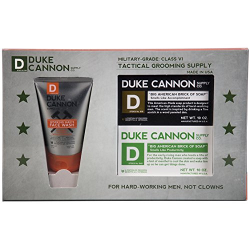 Duke Cannon Shower + Face Gift Set - Tactical Grooming Supply Set Includes: Working Man's Face Wash And Two Big American Bricks Of - Cannon Face