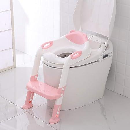 Reductor WC, KEEZSHOP Aseo Asiento con Escalera Orinales para Niños Asiento para Inodoro de Bebe Orinal Infantil Formación Antideslizante Plegable Altura Ajustable Reductor - Rosado: Amazon.es: Bebé
