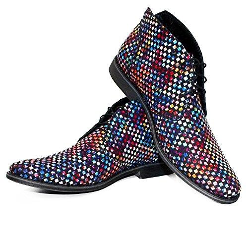 PeppeShoes Modello Disco - Handgemachtes Italienisch Leder Herren Bunt Stiefeletten Chukka Stiefel - Rindsleder Weiches Leder - Schnüren