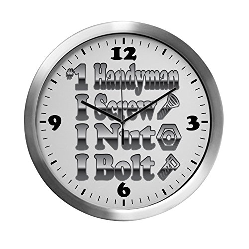 Modern Wall Clock Number 1 Handyman I Screw Nut Bolt by Royal Lion