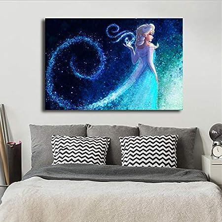 Yhnjikl Reine Des Neiges Elsa Film Minimaliste Aquarelle Art Toile