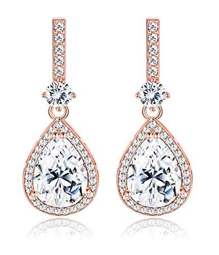 (Sllaiss Pear Shape CZ Teardrop Earrings for Women Girls 18K Rose Gold Plated or White Gold Plated Dangle Earrings Bridal Wedding Jewelry (Rose Gold) )
