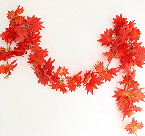 92 Feet - Derker 12 Autumn Artificial Silk Maple Leaf Garland Fall Decoration,Hanging Plant Orange Leaves Wedding Party Garlands,Special gift (Fall Leaves Garland)