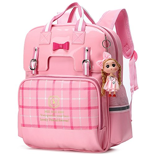 Cute Bowknot Backpacks for Girls Princess Style Children School Bookbags (Small, Pink)