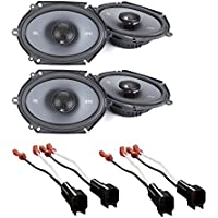 JBL GTO8629 Premium 5 x 7 Inches Co-Axial Speaker (2Pairs) With Metra 72-5600 Ford Speaker Harness 1998-UP
