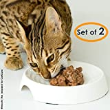 CatGuru Cat Food Bowl, Whisker Stress Free Cat Bowls, Whisker Fatigue Cat Bowl, Wide Cat Dish, Shallow Cat Food Bowls, Non Slip Cat Dishes for Food, Pet Bowls for Cats (Round-Set of 2, Marshmallow)