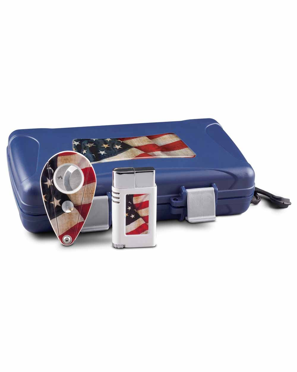 Americana Limited Edition Single Flame Single Action Lighter Xi2 Cigar Cutter Travel Humidor Gift Pack by Xikar (Image #1)