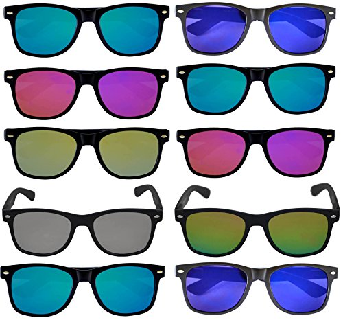 Wholesale of 10 Pairs Flat Mirrored Reflective Colored Lens Sunglasses Black Matte Frame Horn Rimmed Style (10_Pairs_Mix_Colors, PC - Sunglasses Black Bulk