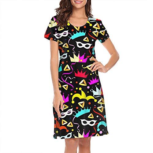 TEedhkf3 Girls' Nightgown Halloween Holiday Halloween Stores Near Me Halloween Costumes for Women Loose-Fit Fashion Short Sleeve Sleepshirts -